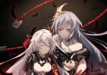 2girls :d bangs chinese_clothes closed_eyes closed_mouth dark_background feathers fu_hua fu_hua_(herrscher_of_sentience) grey_hair hair_between_eyes highres honkai_(series) honkai_impact_3rd kiana_kaslana kiana_kaslana_(void_drifter) long_hair looking_at_another multicolored_hair multiple_girls open_mouth red_eyes shiying_no_yao smile streaked_hair whip white_hair