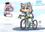 !? 2girls animal_ear_fluff animal_ears bangs bicycle bike_jersey bike_shorts blue_archive blue_eyes blush chibi closed_mouth commentary_request cross_hair_ornament demon_horns english_text flying full_body grey_hair ground_vehicle hair_ornament halo hina_(blue_archive) horns inflatable_toy lcron long_hair looking_ahead looking_at_another medium_hair motion_lines multiple_girls open_mouth riding_bicycle school_swimsuit shadow shiroko_(blue_archive) standing swimsuit twitter_username violet_eyes white_footwear