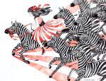 1girl artist_name bangs black_hair black_legwear blush dress hair_ribbon high_heels long_hair mayuko_ogura monochrome original painting_(medium) profile red_dress red_footwear red_ribbon red_theme ribbon riding solo striped striped_dress traditional_media watercolor_(medium) zebra
