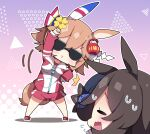 2girls animal_ears arm_up bangs black_headwear blue_flower blue_rose blush breasts brown_eyes brown_hair closed_eyes closed_mouth commentary_request daruma_doll eyebrows_visible_through_hair flower flying_sweatdrops gym_shirt gym_shorts gym_uniform hair_flower hair_ornament hat hat_flower highres horse_ears horse_girl horse_tail jacket long_sleeves matikanefukukitaru_(umamusume) medium_breasts milkpanda multiple_girls open_mouth red_footwear red_jacket red_shorts rice_shower_(umamusume) rose shide shirt shoes short_shorts shorts sleeves_past_wrists stretch sunglasses sweat tail tilted_headwear track_jacket umamusume white_shirt yellow_flower