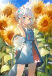 1girl absurdres animal_ear_fluff animal_ears asymmetrical_hair bag bird bloop_(gawr_gura) blue_eyes blue_hair blue_skirt blue_sky breasts cat_ears clouds cloudy_sky commentary condensation_trail cowboy_shot day diamond_(shape) eyebrows_visible_through_hair field flower flower_field gawr_gura hair_cubes hair_ornament hand_in_hair handbag hat highres hololive hololive_english kemonomimi_mode lens_flare looking_at_viewer medium_hair multicolored_hair official_alternate_costume outdoors parted_lips shark_print side_ponytail silver_hair skirt skirt_set sky sleeveless small_breasts solo standing strap straw_hat streaked_hair sunflower sunlight symbol-only_commentary trident_print two-tone_hair ugusu24 virtual_youtuber wind