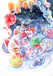 1girl black_hair fish floral_print full_body goldfish hair_ribbon hand_fan holding holding_fan japanese_clothes kimono long_hair long_sleeves mask mayuko_ogura obi original painting_(medium) print_kimono red_ribbon red_sash ribbon sandals sash solo summer_festival traditional_media watercolor_(medium) wide_sleeves yukata