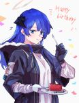 1girl arknights asymmetrical_gloves black_coat black_gloves blue_eyes blue_hair cake chewing closed_mouth coat commentary_request confetti demon_horns english_text eyebrows_visible_through_hair food fur-trimmed_coat fur_trim gloves grey_background halo hand_up happy_birthday highres holding holding_plate holding_spoon hood hood_down hooded_coat horns long_hair mismatched_gloves mostima_(arknights) na_tarapisu153 open_clothes open_coat plate shirt solo spoon upper_body white_gloves white_shirt