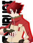1boy absurdres ahoge bangs brown_bag buttons character_name closed_mouth commentary_request fatalita fingerless_gloves gloves high_collar highres holding holding_poke_ball jacket looking_down male_focus poke_ball poke_ball_(basic) pokemon pokemon_(anime) pokemon_swsh_(anime) red_eyes redhead short_hair solo tsurugi_(pokemon) white_background