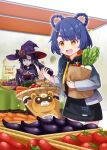 2girls :d animal arms_up bag basket black_gloves black_hair black_hoodie blue_hair blue_jacket braid brown_eyes capelet coin_purse commentary_request drawstring drooling eggplant food genshin_impact gloves green_eyes grocery_bag hair_ornament hair_rings hairclip hat highres holding holding_basket holding_food hood hood_down hoodie hoodie_dress indoors jacket long_hair long_sleeves mona_(genshin_impact) multiple_girls open_clothes open_jacket open_mouth paper_bag parted_lips purple_capelet purple_headwear raccoon saliva sansei_rain shopping_bag short_eyebrows short_hair sleeves_past_wrists smile sparkle sweet_potato thick_eyebrows translation_request twin_braids twintails very_long_hair witch_hat xiangling_(genshin_impact)