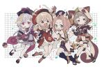 4girls :d :o animal_ear_fluff animal_ears animal_hood bandaged_leg bandages bangs_pinned_back bead_necklace beads bike_shorts black_scarf blonde_hair bloomers boots braid braided_ponytail brown_hair cabbie_hat cat_ears cat_girl cat_tail clover_print coat coin_hair_ornament diona_(genshin_impact) fake_animal_ears fake_tail fang fishnet_fabric genshin_impact green_eyes hat hat_feather highres holding_hands hood jewelry jiangshi klee_(genshin_impact) knees_together_feet_apart leaf leaf_on_head locked_arms low_twintails medium_hair multiple_girls necklace ninja no1shyv open_mouth pink_hair puffy_shorts purple_hair purple_headwear qing_guanmao qiqi_(genshin_impact) raccoon_ears raccoon_hood raccoon_tail red_coat red_eyes red_headwear ribbon sandals sayu_(genshin_impact) scarf short_hair shorts skirt smile tabi tail tanuki thigh-highs twintails underwear violet_eyes vision_(genshin_impact) white_background