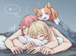 2girls aiiro_bokujuu bang_dream! bare_arms blonde_hair blue_background closed_eyes dog long_hair lying maruyama_aya multiple_girls on_bed on_person on_stomach pillow pink_hair shirasagi_chisato signature sleeping sleeping_on_person sweat symbol-only_commentary thought_bubble translation_request under_covers yuri