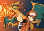 1boy absurdres backpack bag baseball_cap blue_bag breathing_fire brown_eyes brown_hair buttons charizard claws coat commentary_request fangs fire gen_1_pokemon hat highres huge_filesize jira_(ziraiya26) male_focus open_clothes open_coat outstretched_arm pokemon pokemon_(creature) pokemon_(game) pokemon_masters_ex red_(pokemon) shirt sleeveless_coat upper_body upper_teeth