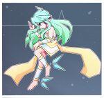 android android_girl ankle_wings blue_hair chibi cyberneticeden green_eyes green_hair hair_wings kiseki_natsuki kiseki_natsuki(utau) nut nut(utau) robot_girl utau vocaloid waist_sash white_dress