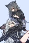 2girls absurdres animal_ears arknights arm_support black_capelet black_coat black_gloves black_hair black_legwear black_shorts blue_background capelet closed_mouth coat commentary_request eyebrows_visible_through_hair fang fingerless_gloves gloves grey_eyes grey_hair hand_in_hair highres jacket lap_pillow lappland_(arknights) long_hair looking_at_another lying multiple_girls na_tarapisu153 on_back scar scar_across_eye shorts simple_background sitting skin_fang texas_(arknights) white_jacket wolf_ears yellow_eyes yuri