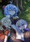 3girls :d ^_^ ^o^ ahoge bangs bell black_bodysuit blue_hair bodysuit chinese_clothes closed_eyes detached_sleeves drooling eyebrows_visible_through_hair finger_to_mouth ganyu_(genshin_impact) genshin_impact hair_between_eyes highres horns hpapo index_finger_raised jiangshi klee_(genshin_impact) light_brown_hair long_hair long_sleeves looking_at_viewer low_twintails lying multiple_girls neck_bell ofuda on_side open_mouth parted_lips pointy_ears purple_hair qiqi_(genshin_impact) sidelocks sleeping sleeping_on_person smile tree tree_shade twintails violet_eyes