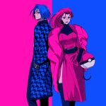 1boy 1girl blue_background blue_hair breasts closed_mouth contrast dress earrings english_commentary fashion feet_out_of_frame hands_in_pockets highres houndstooth james_(pokemon) jessie_(pokemon) jewelry pink_background pink_dress pink_hair poke_ball_symbol pokemon pokemon_(anime) sinful_hime team_rocket thigh-highs
