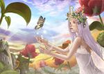1girl arthropod_girl blue_sky bug butterfly closed_mouth clouds commentary_request crown dress flower gradient_sky in-universe_location insect_wings kawasemi_(pocorit) lens_flare long_hair looking_at_animal mistress_(ragnarok_online) mountainous_horizon orange_flower orange_sky pine_tree pink_flower plant purple_hair ragnarok_online red_flower sky sleeveless sleeveless_dress solo strapless strapless_dress sunset tree upper_body violet_eyes white_dress wings