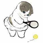 :< animal animal_hands aqua_eyes ball cat cat_tail highres holding juno_(mofu_sand) kitten original playing playing_sports racket skirt sport tail tennis tennis_ball tennis_racket white_background white_skirt