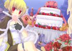 1girl bangs bio_lab black_gloves blonde_hair blush bottle breasts brown_cape brown_dress cake candy cape checkerboard_cookie chocolate chocolate_heart commentary_request cookie cuffs cupcake double_bun dress eyebrows_visible_through_hair feet_out_of_frame food fur-trimmed_cape fur-trimmed_gloves fur_trim gift gingerbread_man gloves gyorui_(yakiudonnn) hair_between_eyes handcuffs heart high_wizard_(ragnarok_online) kathryne_keyron lollipop looking_at_viewer medium_breasts ragnarok_online red_eyes short_dress short_hair solo strapless strapless_dress two-sided_cape two-sided_fabric two-tone_dress white_cape white_dress wine_bottle