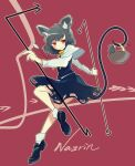 1girl animal_ear_fluff animal_ears basket black_dress black_hair capelet character_name dowsing_rod dress highres holding holding_with_tail jewelry long_sleeves looking_to_the_side mouse mouse_ears mouse_girl mouse_tail nazrin ngc7k137 pendant prehensile_tail red_background red_eyes shoes short_hair smile socks solo tail touhou