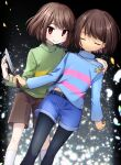 2others bangs belt black_belt black_legwear blue_shirt blunt_bangs blush bob_cut brown_hair brown_shorts chara_(undertale) closed_eyes closed_mouth denim denim_shorts dutch_angle feet_out_of_frame frisk_(undertale) green_shirt hand_on_shoulder hand_up highres holding holding_jewelry holding_knife holding_necklace jewelry knife leftporygon light_frown long_sleeves looking_at_viewer midriff_peek multicolored_shirt multiple_others necklace pantyhose petals pink_shirt red_eyes shirt short_hair shorts smile socks standing swept_bangs turtleneck undertale white_legwear yellow_shirt