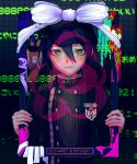 1boy alternate_color bangs black_background black_hair black_headwear blush bow breast_pocket brown_eyes buttons danganronpa_(series) danganronpa_v3:_killing_harmony dated double-breasted hair_between_eyes hands_up happy_birthday highres holding holding_portrait jacket kong_(58n2525) long_sleeves looking_at_viewer male_focus number pocket purple_background purple_jacket saihara_shuuichi smile solo striped striped_jacket upper_body white_bow