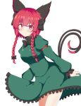 1girl absurdres animal_ears bangs black_bow bow braid cat_ears cat_tail closed_mouth cowboy_shot dress eyebrows_visible_through_hair frilled_dress frills green_dress hair_bow highres juliet_sleeves kaenbyou_rin long_hair long_sleeves looking_at_viewer multiple_tails nekomata puffy_sleeves red_bow red_eyes redhead seo_haruto side_braids simple_background smile solo standing tail touhou twin_braids two_tails white_background