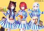 3girls ange_katrina animal_ears apron bangs blue_eyes blue_hair box braid brown_hair chicken_(food) colored_inner_hair cosplay dog_ears dog_girl dress feather_hair_ornament feathers food french_fries fuzichoco hair_ornament heterochromia holding holding_box holding_tray inui_toko lize_helesta long_hair multicolored_hair multiple_girls nijisanji official_art one_eye_closed red_eyes sebastian_piyodore short_hair silver_hair skirt smile striped striped_dress tray twin_braids vertical-striped_skirt vertical_stripes violet_eyes virtual_youtuber wendy's wendy_(wendy's) wendy_(wendy's)_(cosplay) yellow_background yellow_eyes