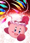 1boy arms_up black_background black_eyes blue_eyes brown_background colored_skin creature crystal e.o. flandre_scarlet gradient gradient_background hands_up hat hat_ribbon highres jewelry kirby kirby's_dream_land kirby_(series) looking_to_the_side mob_cap multicolored multicolored_wings open_mouth pink_skin red_background red_ribbon ribbon running smile solo touhou white_background white_headwear wings