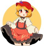 1girl :d aki_minoriko apron bangs black_skirt blonde_hair cowboy_shot cropped_legs eyebrows_visible_through_hair food fruit grapes holding holding_clothes holding_skirt ini_(inunabe00) long_sleeves looking_at_viewer open_mouth red_apron red_eyes red_headwear short_hair skirt smile solo standing touhou wheat_print white_background wide_sleeves yellow_background