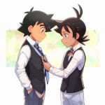 2boys adjusting_neckwear alternate_costume ash_ketchum bangs black_hair black_vest blue_eyes blush brown_eyes buttons closed_mouth collared_shirt commentary_request eyelashes from_side goh_(pokemon) grey_pants hand_in_pocket long_sleeves male_focus multiple_boys necktie pants pokemon pokemon_(anime) pokemon_swsh_(anime) shirt short_hair smile tama!_(lazyturtle) vest white_shirt