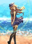 1girl bangs bare_arms bird blush brown_hair brown_legwear commentary day english_commentary floating_hair hat highres long_hair outdoors parted_lips pleated_skirt pokemon pokemon_(game) pokemon_xy sand serena_(pokemon) sheery_sbox shirt shore signature skirt sleeveless sleeveless_shirt smile solo standing thigh-highs tiptoes water