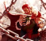 2boys absurdres beard blood blood_on_clothes cape chain chained crying facial_hair fate/zero fate_(series) fur-trimmed_cape fur_trim hand_on_another's_head highres impaled iskandar_(fate) leather male_focus mature_male multiple_boys muscular muscular_male pectorals red_cape redhead short_hair sidepec smile upper_body waver_velvet wincalblanke
