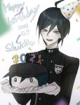 1boy 2021 :d absurdres ahoge bangs black_hair black_headwear black_jacket brown_eyes cake commentary_request danganronpa_(series) danganronpa_v3:_killing_harmony dated food hair_between_eyes happy_birthday hat highres holding jacket long_sleeves looking_at_viewer male_focus number open_mouth party_hat ropo_(ropo_123) saihara_shuuichi shirt short_hair smile solo striped striped_jacket upper_body upper_teeth