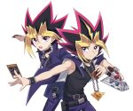 2boys :d bangs bare_arms bare_shoulders belt black_belt black_shirt blonde_hair blue_cape blue_jacket blue_pants cape card chain chain_necklace collarbone dark_magician duel_disk highres holding jacket jewelry male_focus millennium_puzzle multicolored_hair multiple_boys mutou_yuugi necklace nemu_mohu open_mouth pants shirt simple_background smile spiky_hair two-tone_hair violet_eyes white_background yami_yuugi yu-gi-oh!