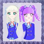 2girls aikatsu!_(series) argyle argyle_background hand_on_own_chin hikami_sumire kngbc multiple_girls toudou_yurika