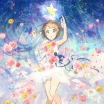 1girl alternate_costume bangs bare_arms blue_eyes blue_ribbon breasts commentary_request dress eyelashes flower from_above hands_up kanimaru looking_at_viewer lying on_back parted_lips petals pink_flower pokemon pokemon_(anime) pokemon_xy_(anime) ribbon ripples serena_(pokemon) short_hair signature sleeveless sleeveless_dress solo twitter_username white_dress yellow_flower