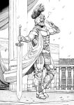 1boy armor breastplate cape column commentary contrapposto covered_face english_commentary gladiator gorget greyscale hand_up heart helmet highres holding holding_sword holding_weapon long_sword male_focus metal_boots monochrome original outdoors parody pelvic_curtain petals pillar plume roman_clothes solo sword v vambraces weapon y_naf