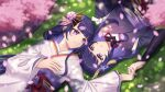 2girls bangs blush bridal_gauntlets cherry_blossoms closed_mouth commentary dm_(nguyen_dm95) english_commentary falling_petals flower genshin_impact grass hair_ornament hand_on_own_chest highres holding_hands japanese_clothes kimono long_hair long_sleeves looking_at_another lying mole mole_under_eye multiple_girls obi obiage obijime on_back open_mouth petals purple_flower purple_hair raiden_shogun sash siblings sisters smile spoilers tassel twitter_username violet_eyes wide_sleeves