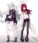 2girls aibivy animal_ears arknights bangs belt black_footwear black_jacket black_nails black_shorts boots brown_hair closed_mouth coat collared_jacket collared_shirt commentary full_body grey_background grey_eyes grey_legwear hair_between_eyes hair_ornament hairclip hands_in_pockets highres jacket labcoat lappland_(arknights) legwear_under_shorts long_hair long_sleeves looking_at_viewer makise_kurisu messy_hair multiple_girls nail_polish navel necktie pantyhose parted_lips red_neckwear scar scar_across_eye shirt short_shorts shorts silver_hair simple_background smile standing steins;gate stomach tail white_belt white_coat white_shirt wolf_ears yellow_eyes