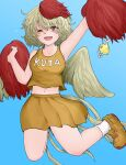 1girl ;d alternate_costume bangs bird bird_wings blonde_hair blue_background cheerleader chick clothes_writing eyebrows_visible_through_hair fe_(tetsu) full_body hand_fan highres holding holding_pom_poms looking_at_viewer multicolored_hair navel niwatari_kutaka one_eye_closed open_mouth orange_footwear orange_skirt orange_tank_top pom_pom_(cheerleading) red_eyes redhead shoes simple_background skirt smile sneakers tank_top touhou two-tone_hair wings yellow_wings