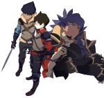3boys absurdres alternate_costume bangs boots brown_footwear brown_hair closed_mouth commentary_request crossed_arms dagger dark-skinned_male dark_skin facial_hair frown gloves highres holding holding_sword holding_weapon hop_(pokemon) knife korean_commentary leon_(pokemon) long_hair male_focus multiple_boys na1_pkmn pokemon pokemon_(game) pokemon_swsh purple_hair short_hair simple_background split_mouth standing sword victor_(pokemon) weapon white_background yellow_eyes