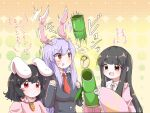 3girls animal_ears bamboo black_hair blazer blush breasts brown_eyes carrot_necklace dot_mouth dress floppy_ears hime_cut houraisan_kaguya inaba_tewi jacket japanese_clothes large_breasts light_purple_hair long_hair long_sleeves multiple_girls necktie open_mouth pink_dress rabbit_ears red_eyes reisen_udongein_inaba surprised sweatdrop tanikake_yoku touhou translation_request triangle_mouth