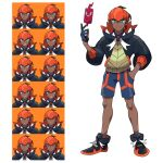 1boy aqua_eyes asatsuki_(fgfff) black_footwear black_hair black_hoodie closed_mouth collared_shirt commentary_request dark-skinned_male dark_skin earrings expression_chart full_body gen_4_pokemon gloves hand_in_pocket hand_up highres hood hoodie jewelry knees looking_at_viewer male_focus orange_headwear partially_fingerless_gloves pokemon pokemon_(game) pokemon_swsh raihan_(pokemon) rotom rotom_phone shirt shoes short_hair shorts side_slit side_slit_shorts single_glove smile standing undercut