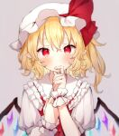 1girl bangs blonde_hair blush bow closed_mouth collar collared_dress crystal dress eyebrows_visible_through_hair flandre_scarlet grey_background hair_between_eyes hands_up hat hat_ribbon honotai jewelry looking_at_viewer mob_cap multicolored multicolored_wings one_side_up puffy_short_sleeves puffy_sleeves red_bow red_dress red_eyes red_ribbon ribbon shirt short_hair short_sleeves simple_background solo tears touhou white_headwear white_shirt white_sleeves wings wrist_cuffs