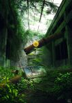 commentary_request damaged day flower highres indoors mocha_(cotton) nature no_humans original overgrown painting_(object) pipes ruins rust scenery summer sunflower sunlight yellow_flower
