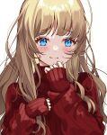 1girl :3 bangs blue_eyes blush brown_hair closed_mouth commentary_request eyebrows_visible_through_hair fujishiro_kokoa highres long_hair long_sleeves looking_at_viewer original red_sweater simple_background sleeves_past_wrists smile solo sweater upper_body white_background