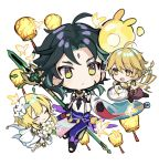 1girl 2boys :< aether_(genshin_impact) ahoge bangs bead_necklace beads black_hair blonde_hair braid bug butterfly chibi closed_eyes closed_mouth detached_sleeves dress facial_mark flower food forehead_mark genshin_impact green_hair highres holding holding_polearm holding_spear holding_weapon jewelry jqpz_30 lantern long_hair lumine_(genshin_impact) multicolored_hair multiple_boys necklace open_mouth polearm seelie_(genshin_impact) short_hair_with_long_locks simple_background single_braid smile spear tassel weapon white_background white_dress white_flower xiao_(genshin_impact) yellow_eyes