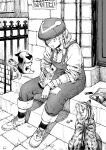 1girl braid cat coin commentary english_commentary fairy greyscale hair_over_shoulder hat hatching_(texture) highres holding milk_carton monochrome mouth_drool original outdoors overalls shirt shoes sitting sitting_on_stairs socks solo stairs wanted wide-eyed wristband y_naf