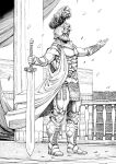 1boy armor breastplate cape column commentary covered_face english_commentary gladiator gorget greyscale helmet highres holding holding_sword holding_weapon long_sword male_focus metal_boots monochrome original outdoors pelvic_curtain petals pillar plume roman_clothes solo sword vambraces weapon y_naf