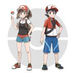 1boy 1girl asatsuki_(fgfff) bangs baseball_cap black_footwear black_hair black_shirt blue_shorts brown_eyes brown_hair chase_(pokemon) closed_mouth collarbone commentary_request elaine_(pokemon) eyelashes hand_on_hip hand_up hat highres jacket knees looking_at_viewer no_socks official_style poke_ball poke_ball_(basic) pokemon pokemon_(game) pokemon_lgpe red_headwear shirt shoes short_sleeves shorts smile sneakers split_mouth standing