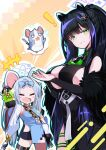 ! 2girls =_= animal_ears black_hair blue_archive blush_stickers chinese_clothes commentary_request detached_sleeves fang forehead green_eyes hair_ornament highres mouse mouse_ears multiple_girls omochishiki open_mouth ribbon saya_(blue_archive) shorts shun_(blue_archive) silver_hair vial