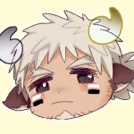 1boy alternate_hair_color animal_ears badai blush chibi cow_boy cow_ears cow_horns face facial_hair facial_mark fiery_horns forked_eyebrows glowing_horns goatee horns looking_at_viewer male_focus pout short_hair solo spiky_hair stubble thick_eyebrows tokyo_houkago_summoners wakan_tanka