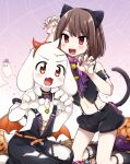 1other 2boys animal_ears asriel_dreemurr bangs bare_shoulders barefoot bat_wings bell black_legwear black_overalls black_shirt black_shorts blurry blush bob_cut bow bowtie brown_hair candy cat_ears cat_tail chara_(undertale) choker crop_top curled_fingers depth_of_field detached_collar fake_animal_ears fake_horns fang fangs food frills furry furry_male gold_necklace gold_trim gradient gradient_background groin hands_up hat highres horns jack-o'-lantern jewelry jingle_bell kneeling leftporygon looking_at_viewer multiple_boys naked_overalls napstablook navel necklace open_mouth orange_belt orange_choker orange_eyes orange_wings overalls pink_neckwear puffy_shorts pumpkin purple_footwear purple_headwear red_eyes shirt shoes short_hair shorts silk sitting skin_fangs smile socks spider_web spider_web_background spiked_belt spiked_choker spikes swept_bangs tail tail_bow tail_ornament torn_clothes torn_overalls undertale v-shaped_eyebrows w_arms wariza white_fur wings |_|